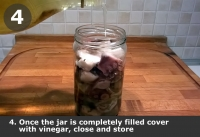 Once the jar is completely filled cover with vinegar, close it and store.